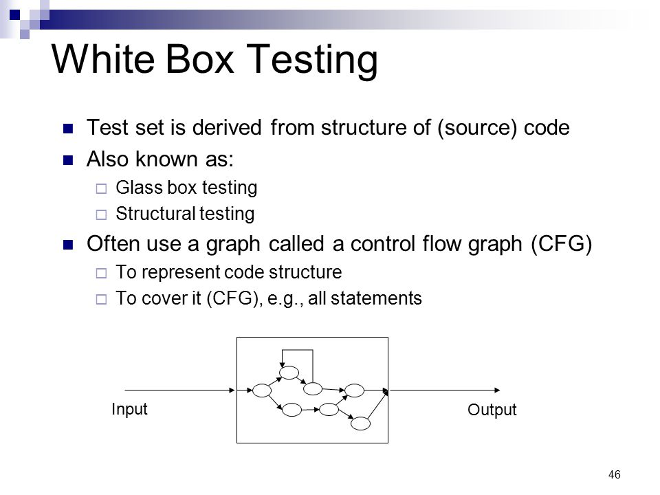 White Box Testing Test set is derived from structure of (source) code