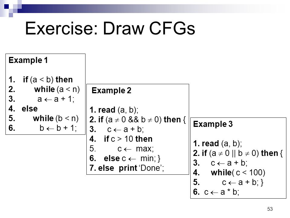 Exercise: Draw CFGs Example 1 if (a < b) then while (a < n)