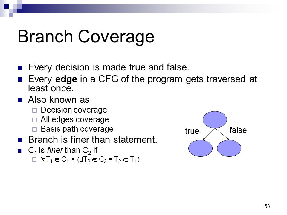 Branch Coverage Every decision is made true and false.