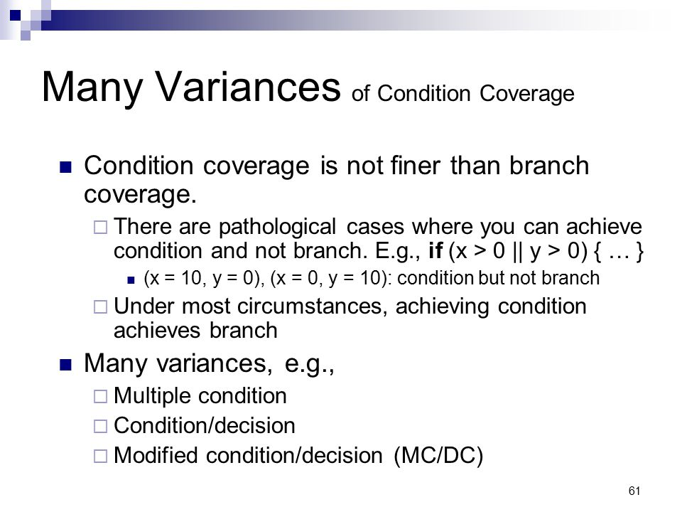 Many Variances of Condition Coverage