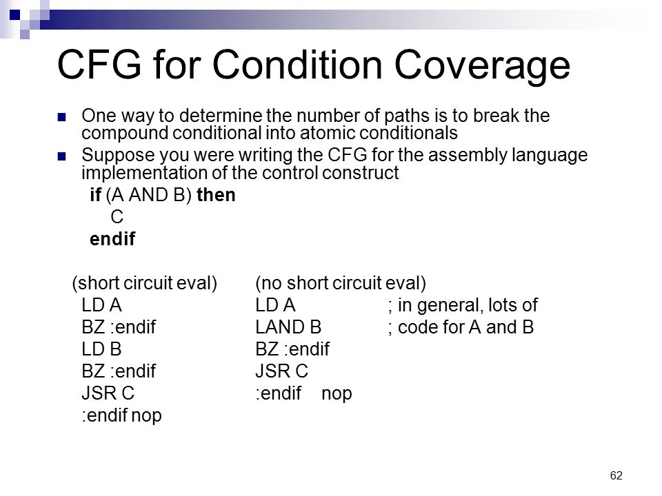 CFG for Condition Coverage
