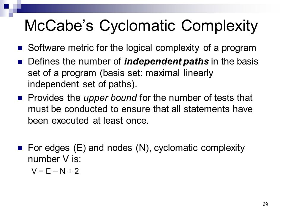 McCabe's Cyclomatic Complexity