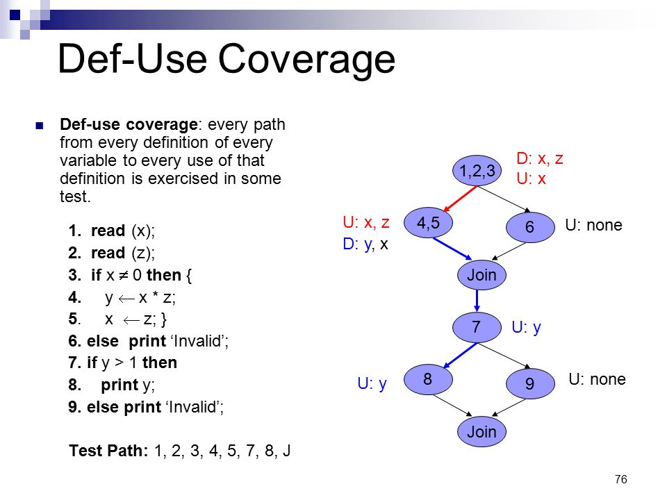 Def-Use Coverage Def-use coverage: every path from every definition of every variable to every use of that definition is exercised in some test.