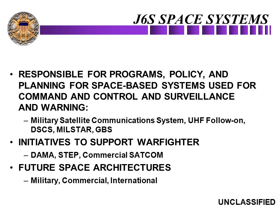 J6S SPACE SYSTEMS RESPONSIBLE FOR PROGRAMS, POLICY, AND PLANNING FOR SPACE-BASED SYSTEMS USED FOR COMMAND AND CONTROL AND SURVEILLANCE AND WARNING: