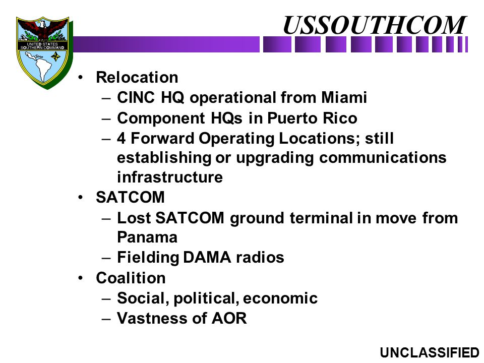 USSOUTHCOM Relocation CINC HQ operational from Miami