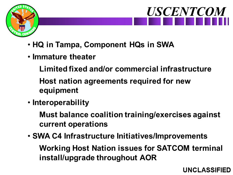 USCENTCOM HQ in Tampa, Component HQs in SWA Immature theater