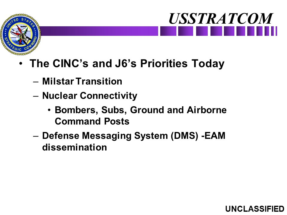 USSTRATCOM The CINC's and J6's Priorities Today Milstar Transition