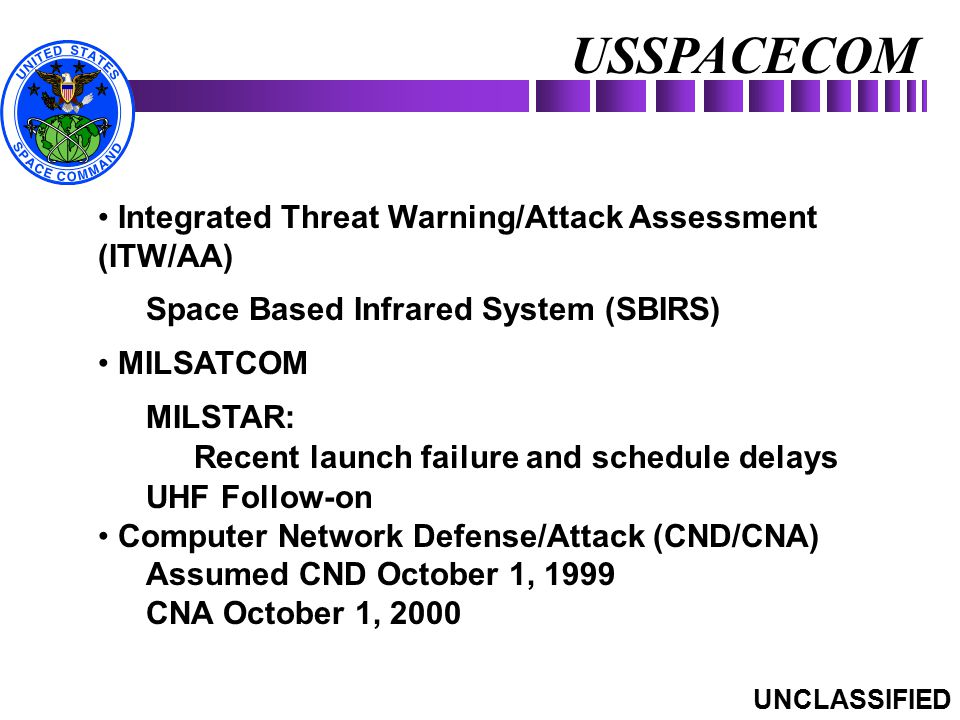 USSPACECOM Integrated Threat Warning/Attack Assessment (ITW/AA)