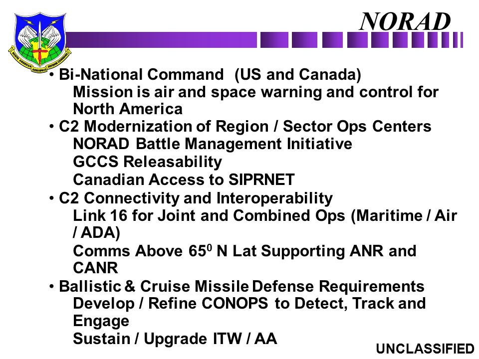NORAD Bi-National Command (US and Canada)