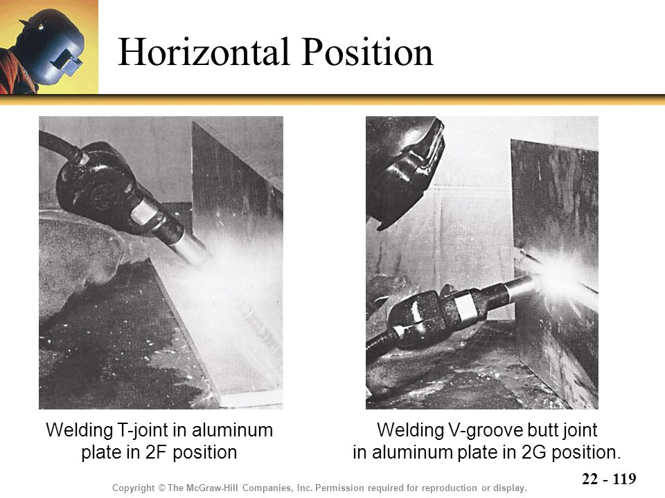Horizontal Position Welding T-joint in aluminum plate in 2F position