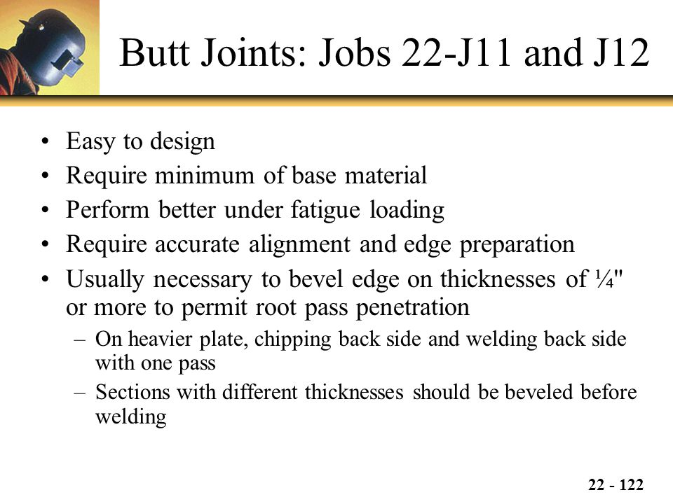 Butt Joints: Jobs 22-J11 and J12