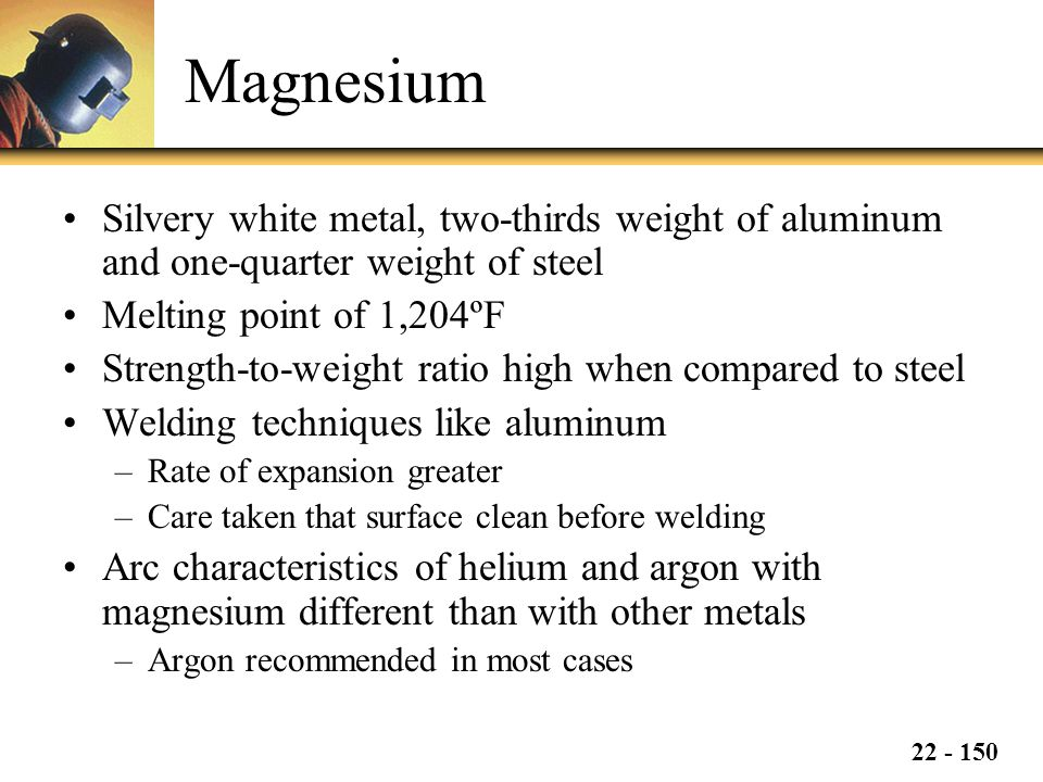 Magnesium Silvery white metal, two-thirds weight of aluminum and one-quarter weight of steel. Melting point of 1,204ºF.