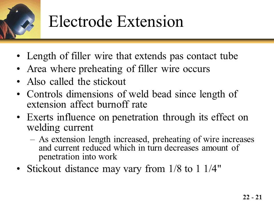 Electrode Extension Length of filler wire that extends pas contact tube. Area where preheating of filler wire occurs.