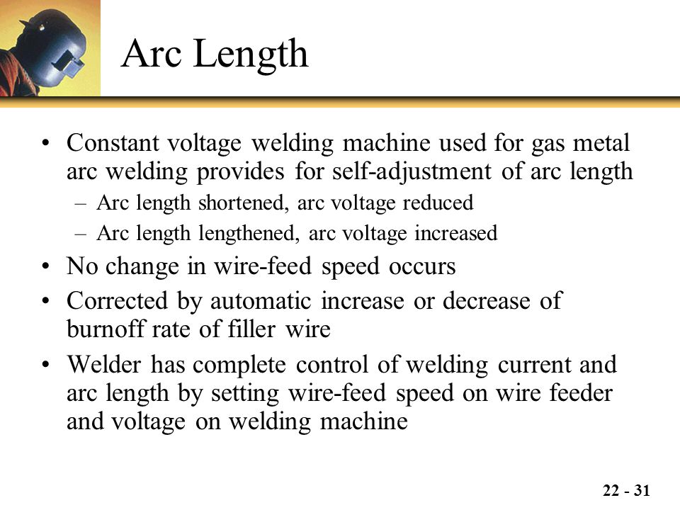 Arc Length Constant voltage welding machine used for gas metal arc welding provides for self-adjustment of arc length.