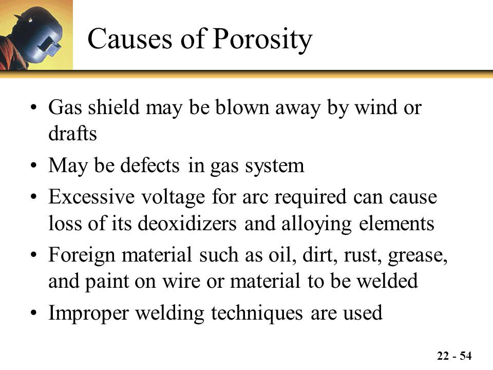 Causes of Porosity Gas shield may be blown away by wind or drafts