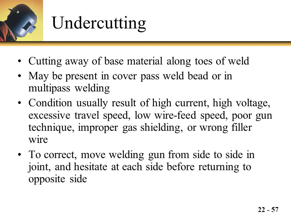 Undercutting Cutting away of base material along toes of weld