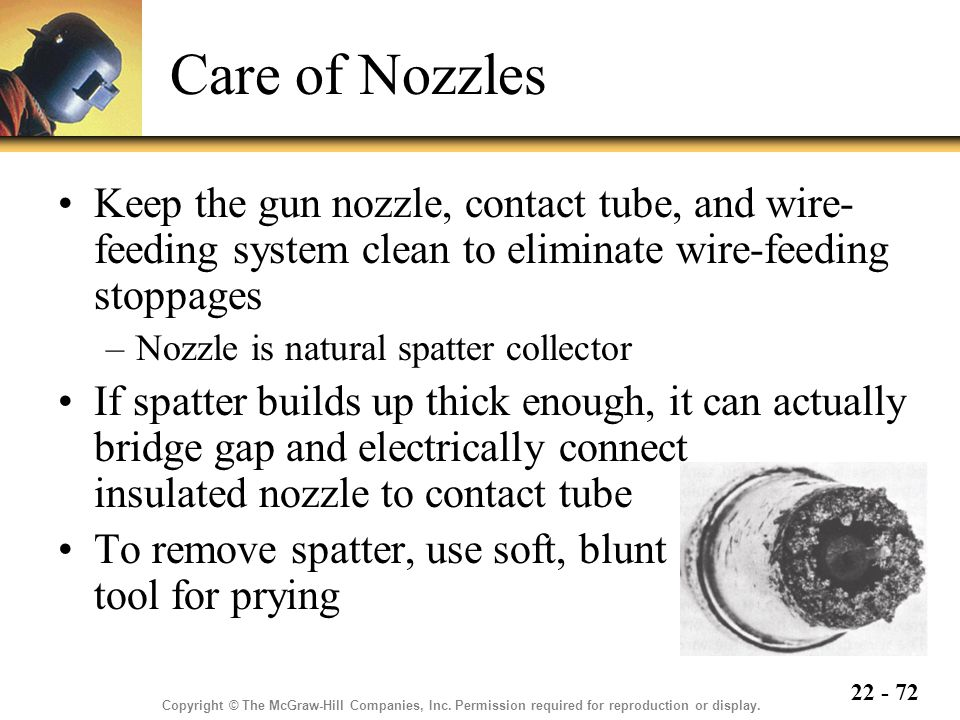 Care of Nozzles Keep the gun nozzle, contact tube, and wire-feeding system clean to eliminate wire-feeding stoppages.