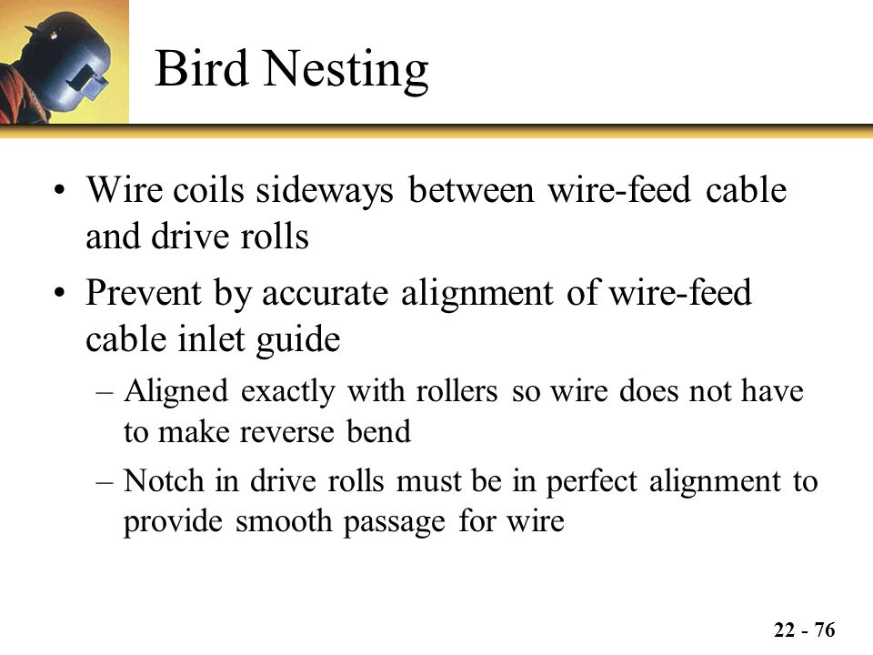 Bird Nesting Wire coils sideways between wire-feed cable and drive rolls. Prevent by accurate alignment of wire-feed cable inlet guide.
