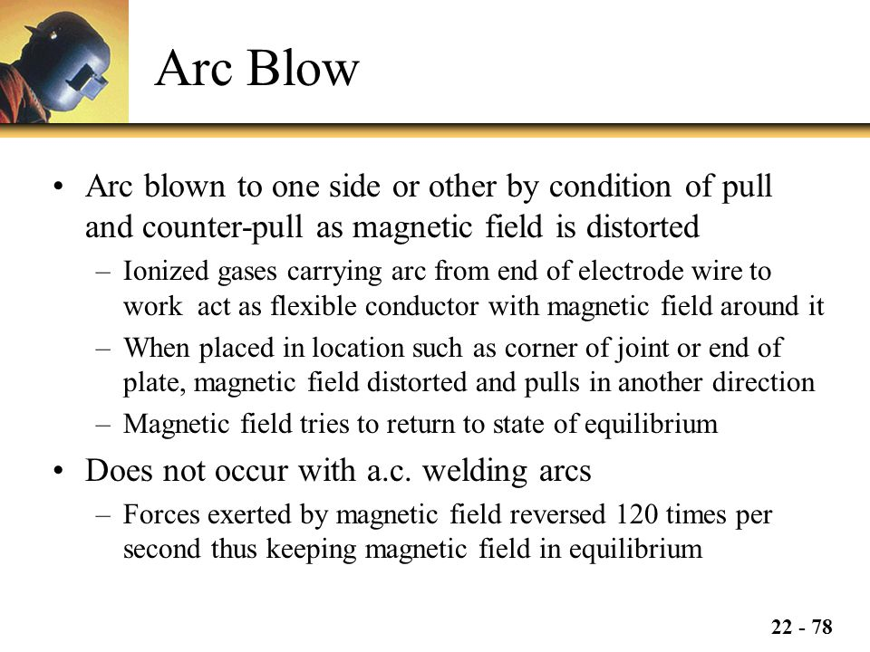 Arc Blow Arc blown to one side or other by condition of pull and counter-pull as magnetic field is distorted.