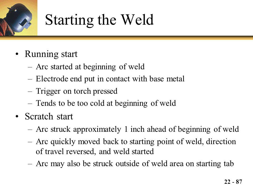 Starting the Weld Running start Scratch start