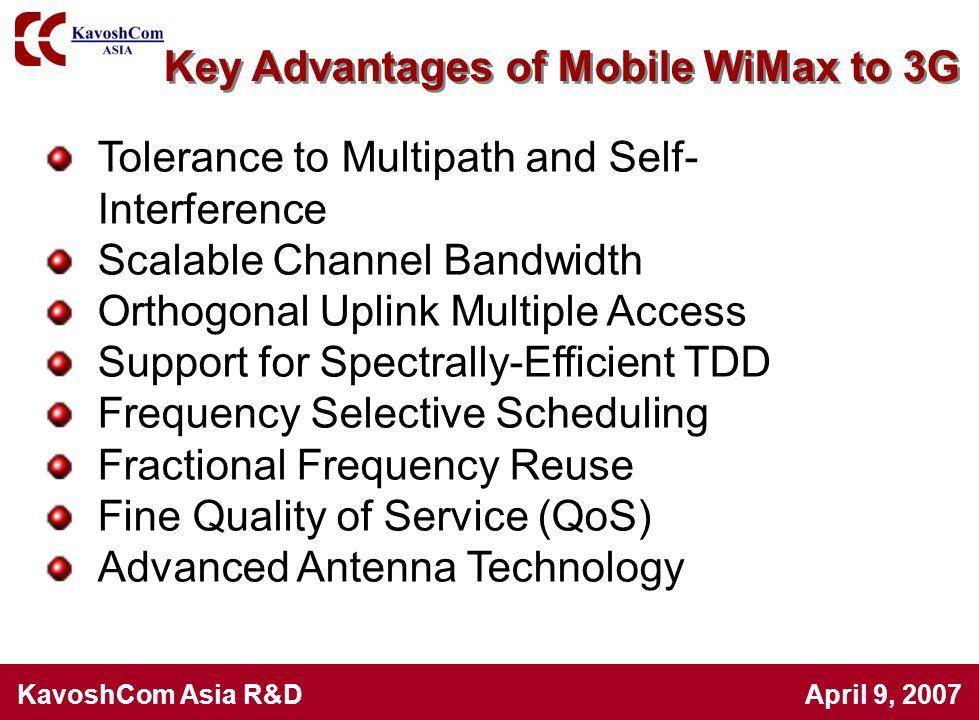 Key Advantages of Mobile WiMax to 3G