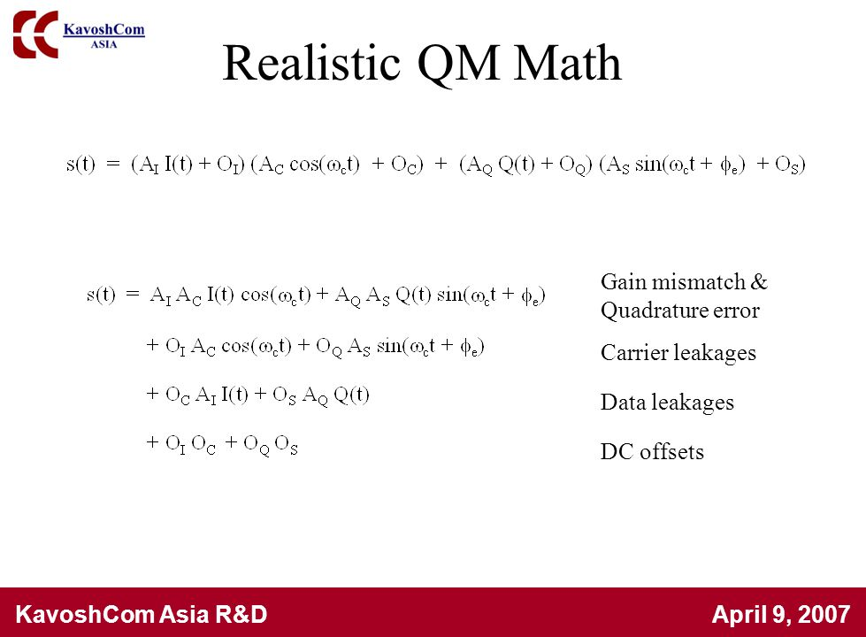 Realistic QM Math Gain mismatch & Quadrature error Carrier leakages