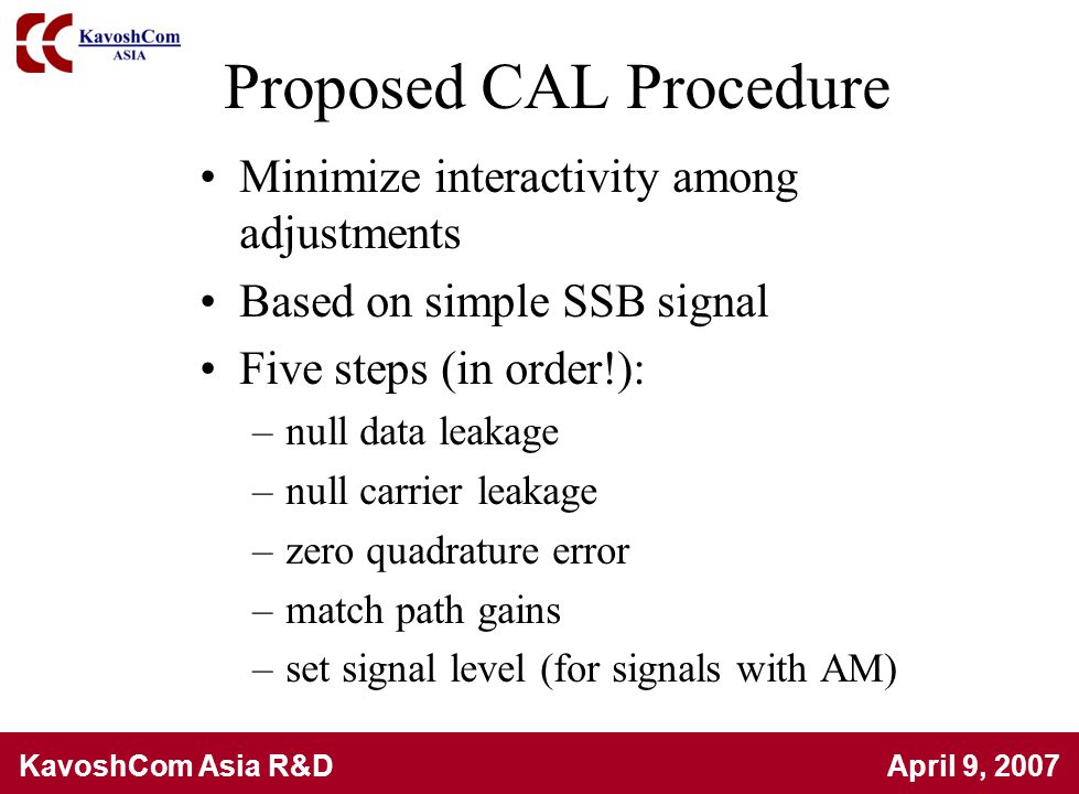 Proposed CAL Procedure