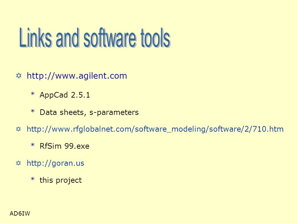 Links and software tools