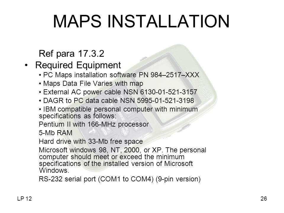 MAPS INSTALLATION Ref para 17.3.2 Required Equipment