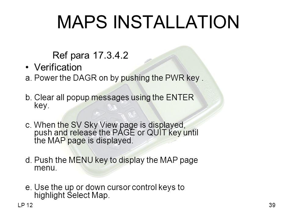 MAPS INSTALLATION Ref para 17.3.4.2 Verification