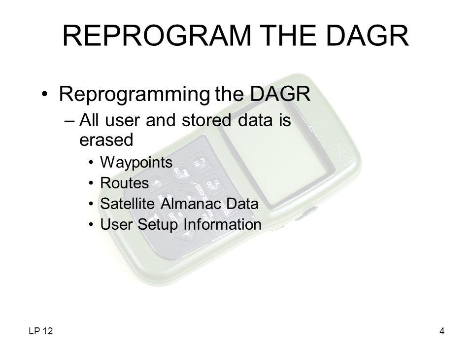 REPROGRAM THE DAGR Reprogramming the DAGR