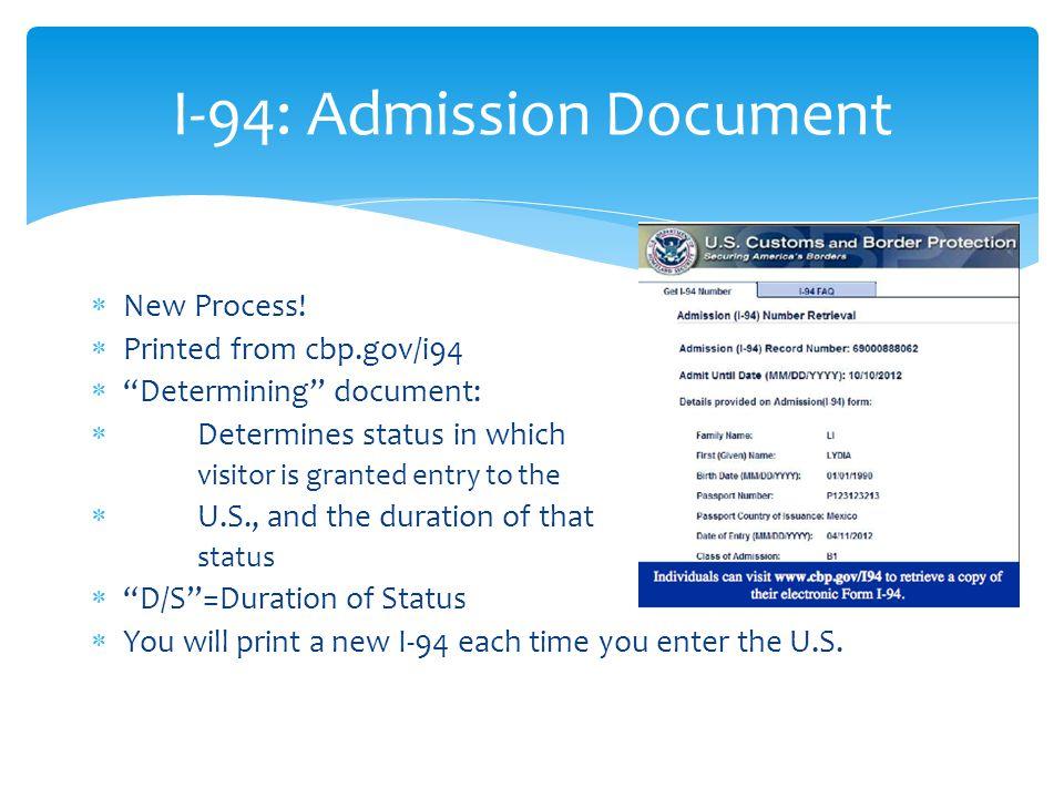 I-94: Admission Document