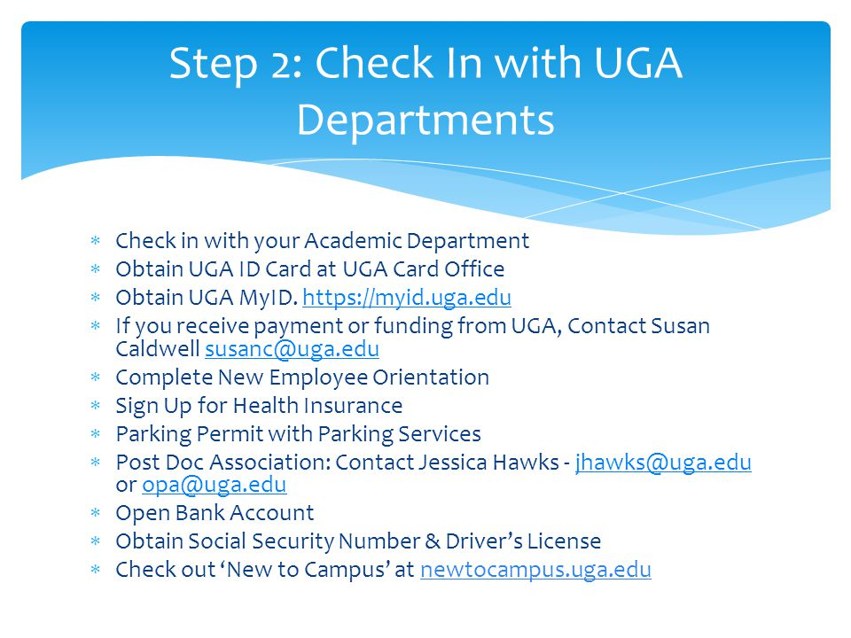 Step 2: Check In with UGA Departments
