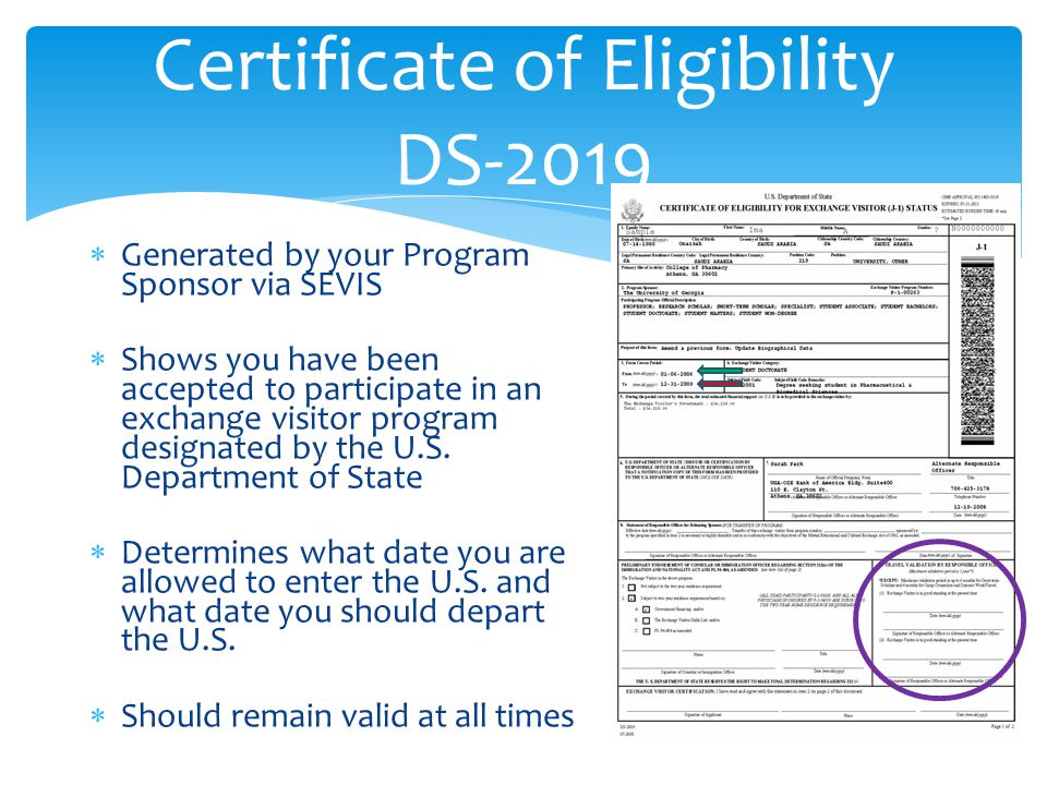 Certificate of Eligibility DS-2019