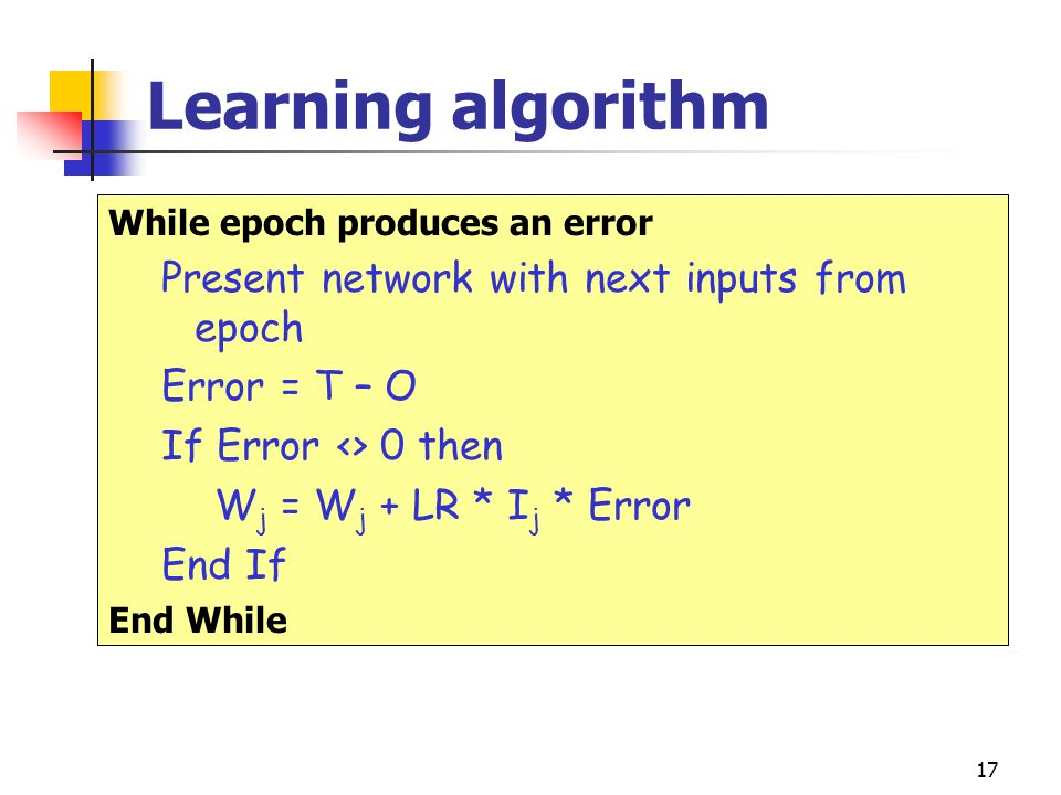 Learning algorithm Present network with next inputs from epoch