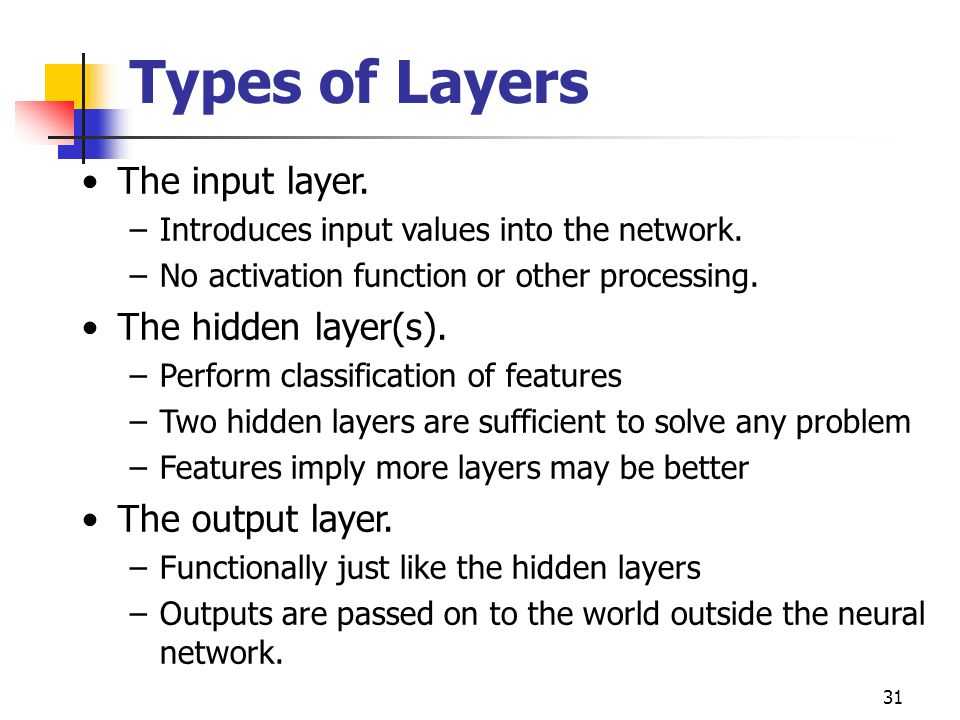Types of Layers The input layer. The hidden layer(s).
