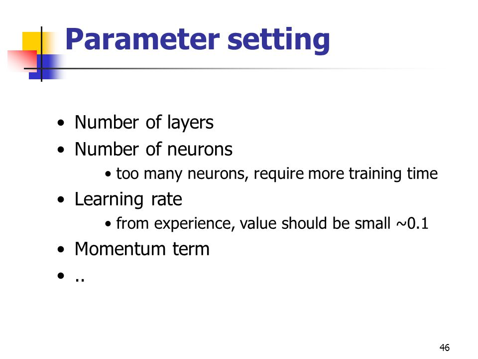 Parameter setting Number of layers Number of neurons Learning rate