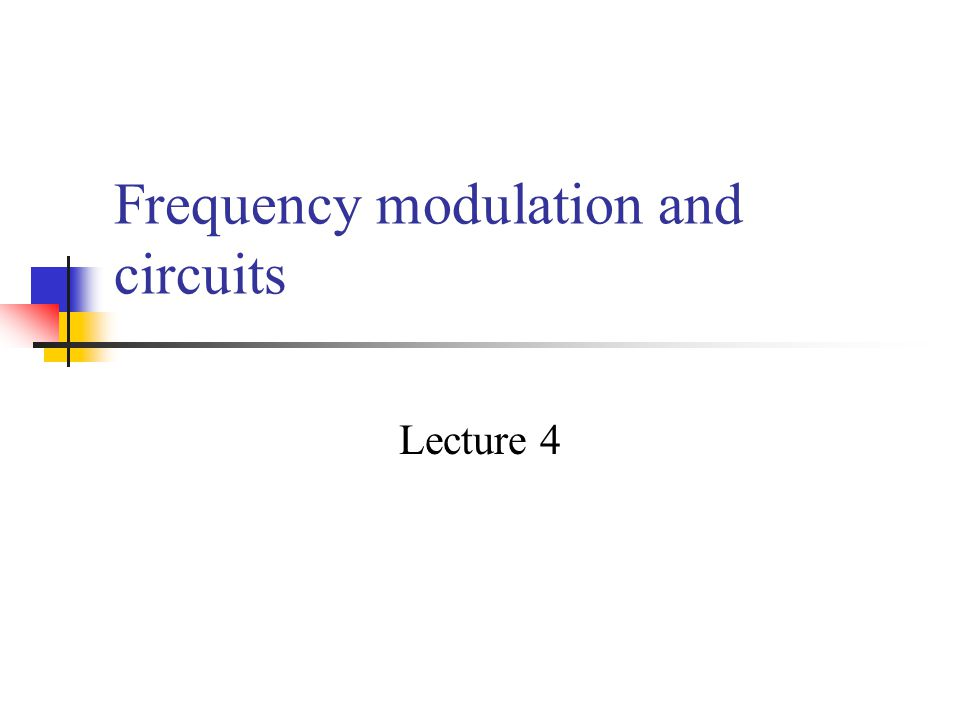 Frequency modulation and circuits