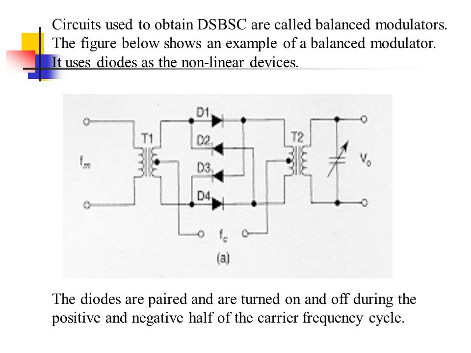 Circuits used to obtain DSBSC are called balanced modulators