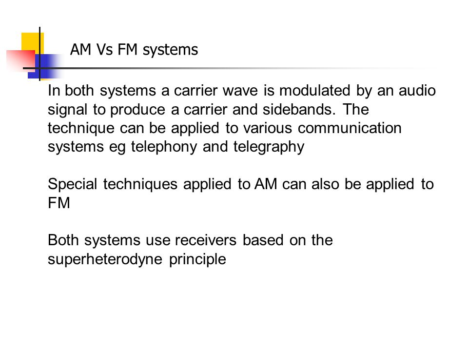 AM Vs FM systems