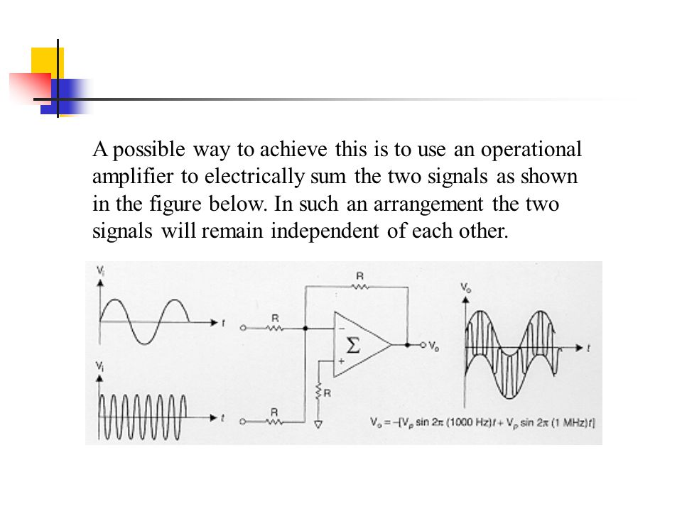 A possible way to achieve this is to use an operational amplifier to electrically sum the two signals as shown in the figure below.