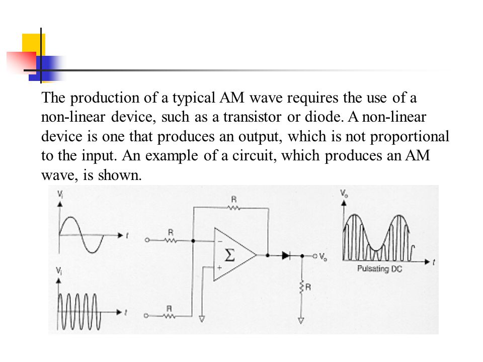 The production of a typical AM wave requires the use of a non-linear device, such as a transistor or diode.