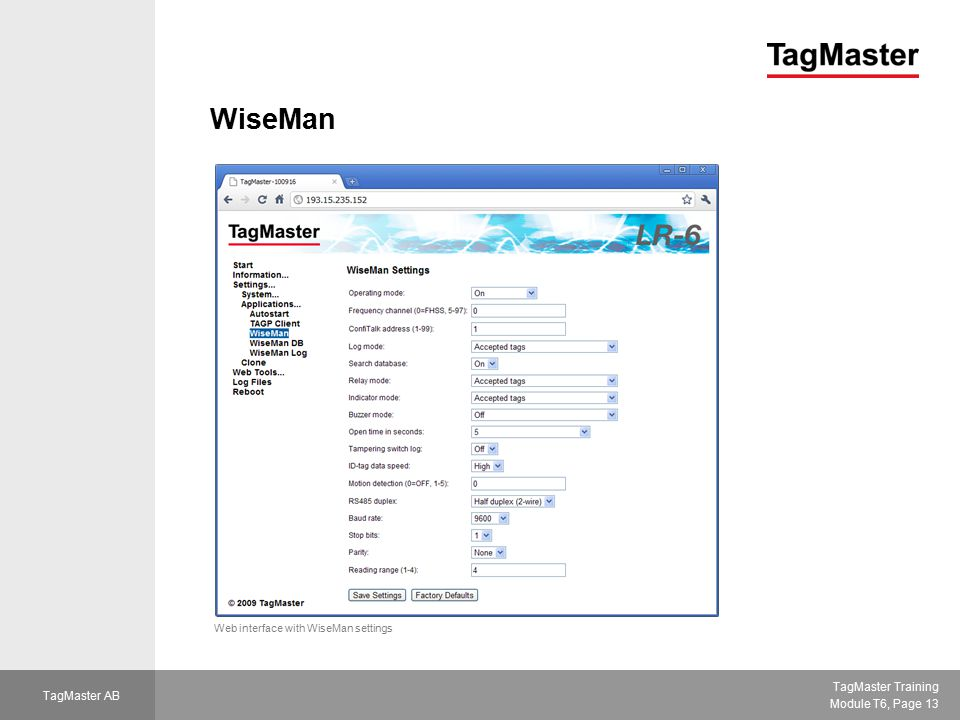 WiseMan Web interface with WiseMan settings