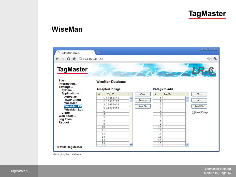 WiseMan Managing the database