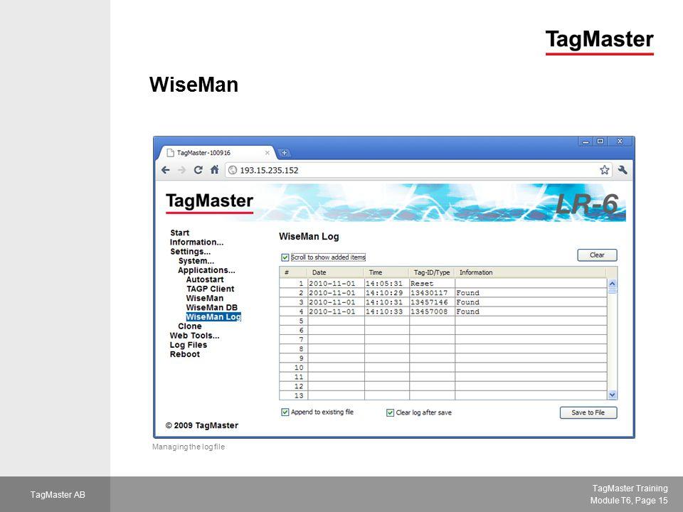 WiseMan Managing the log file