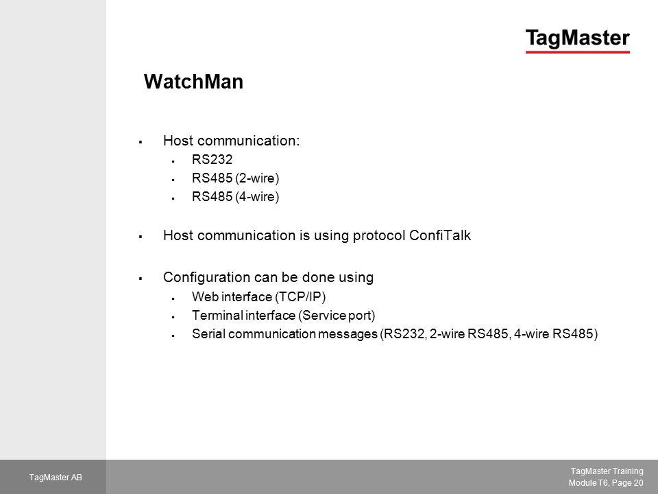 WatchMan Host communication: