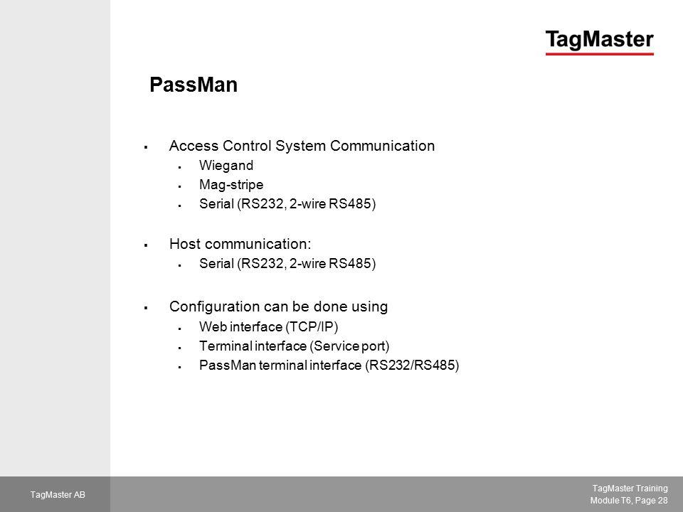 PassMan Access Control System Communication Host communication:
