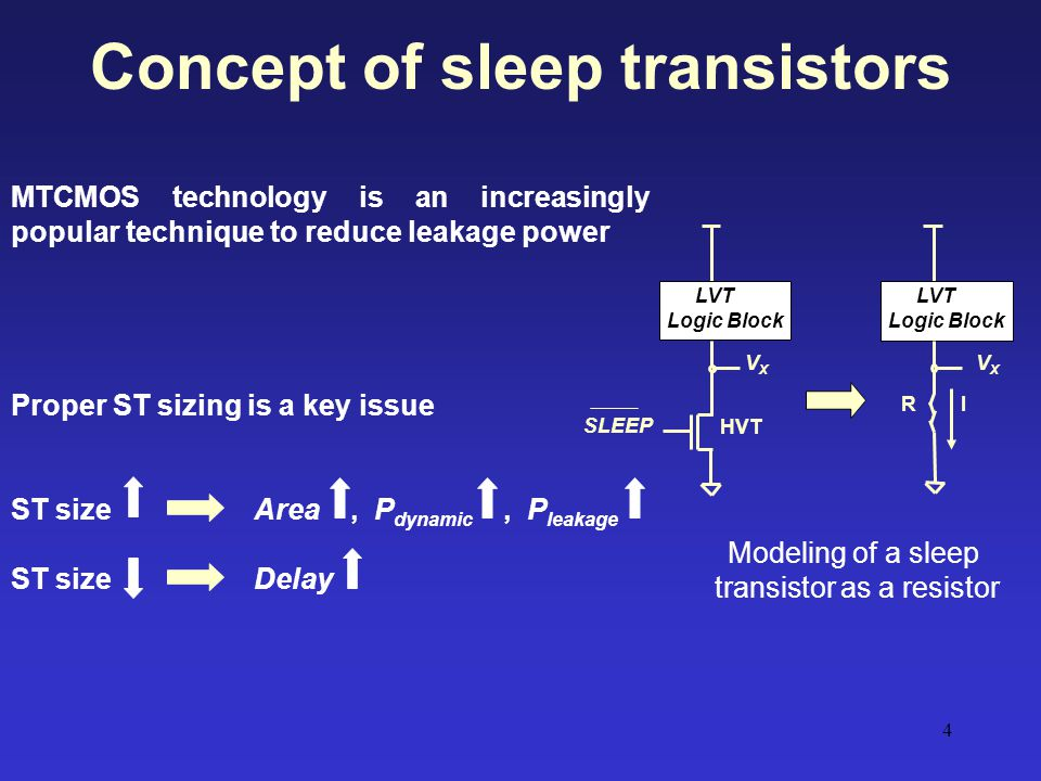 Concept of sleep transistors