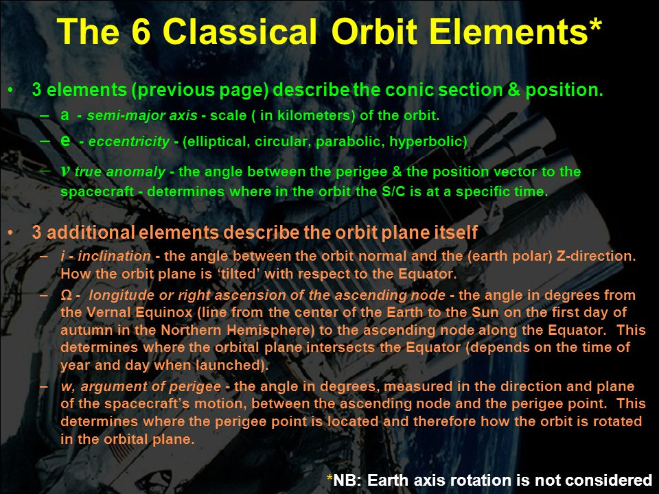 The 6 Classical Orbit Elements*