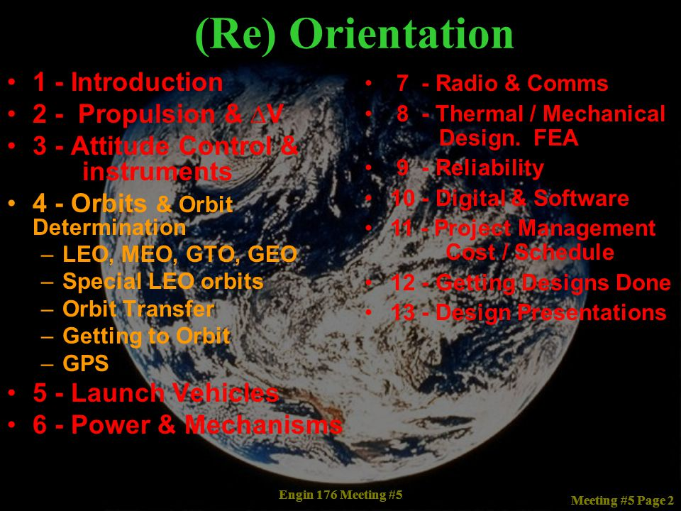 (Re) Orientation 1 - Introduction 2 - Propulsion & ∆V